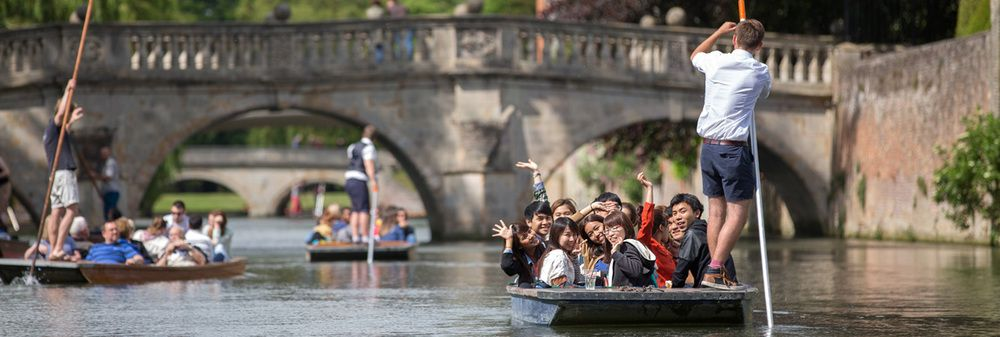 A banner image of students punting on the river Cam, linking to Studio Cambridge English Camp testimonials