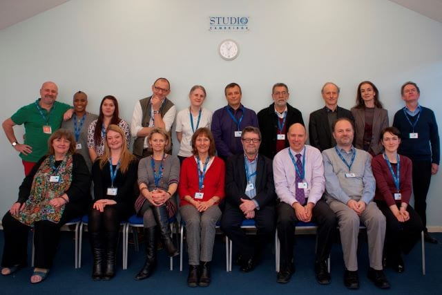 Two rows of some of the longest-serving English teachers at Studio Cambridge English language school