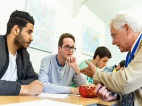 An image of International students on an Intensive English course in Cambridge, linking to a page on the EFL-28 course