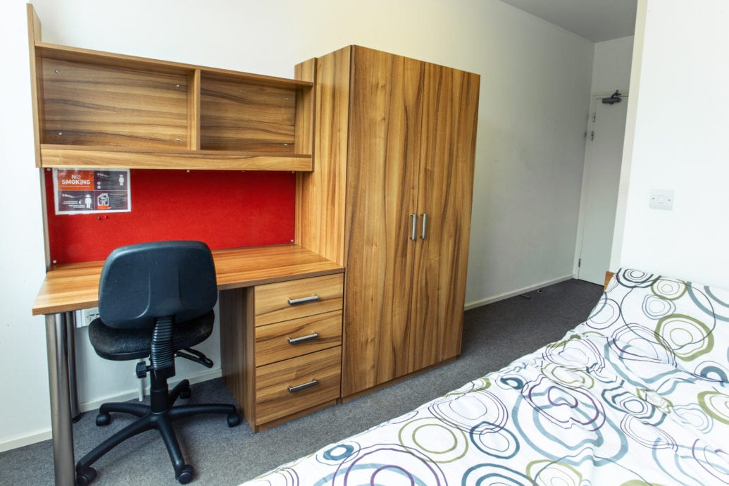 A single en-suite room at Bragg House accommodation.