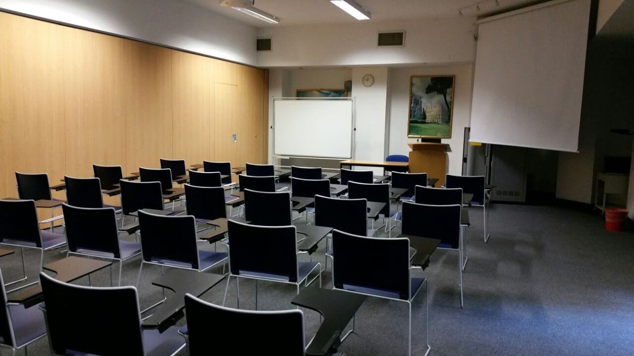 Lecture room at Richmond the American International University, where the Sir William English summer camp is based.