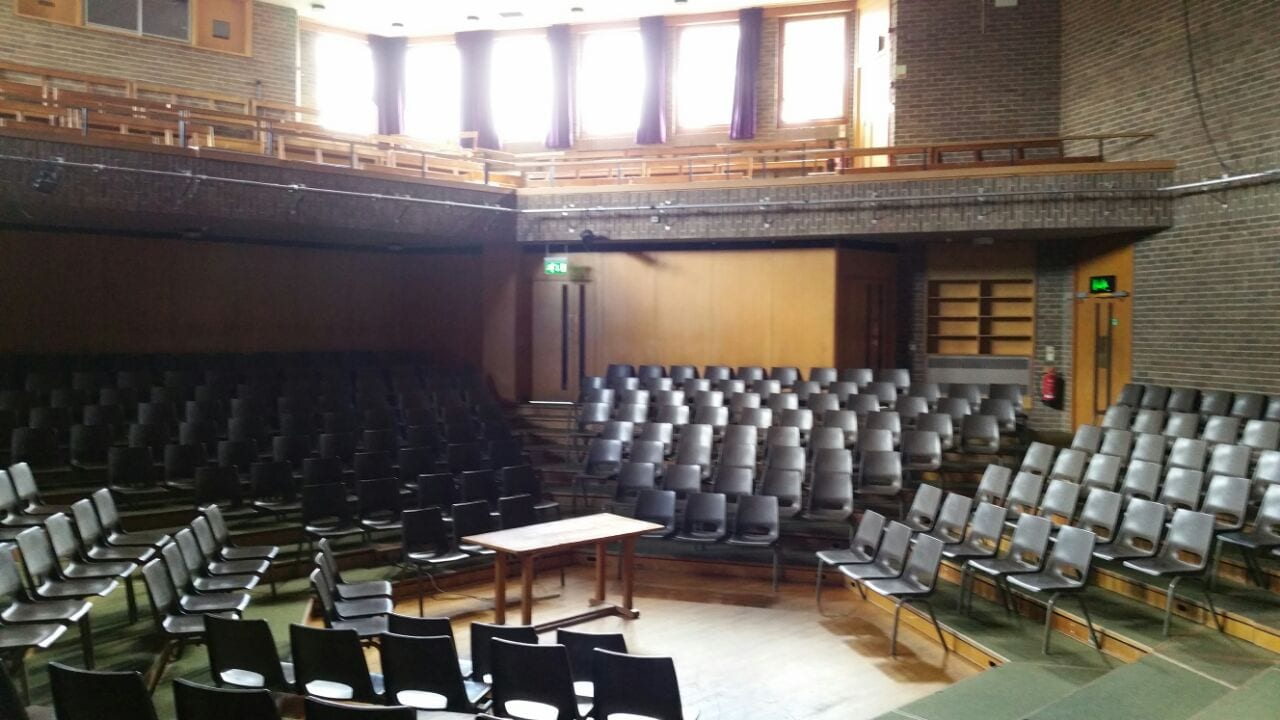 Lecture theatre at Sir Richard residential English summer camp, based in Leighton Park School,