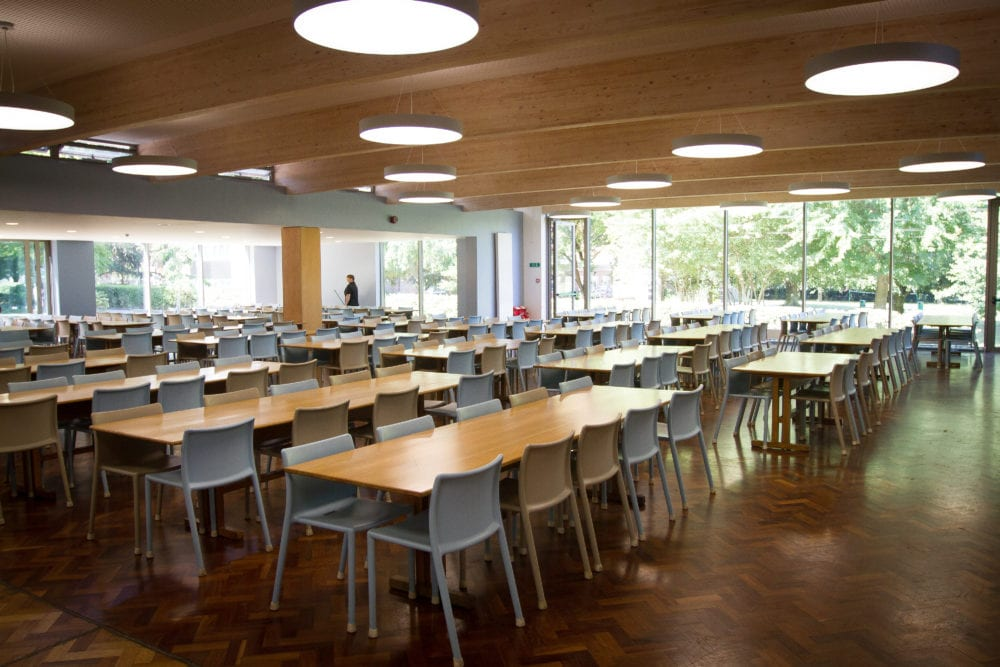 Refectory at Hockerill College, where students at Sir Henry residential English summer camp take meals