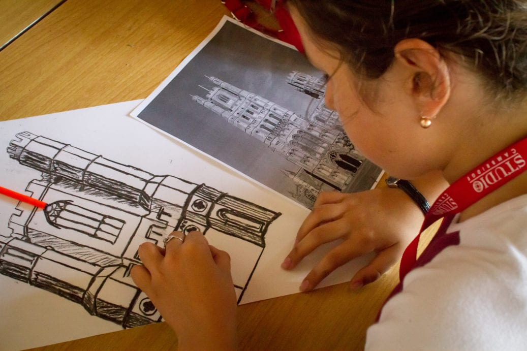 Student shades line sketch of Ely cathedral