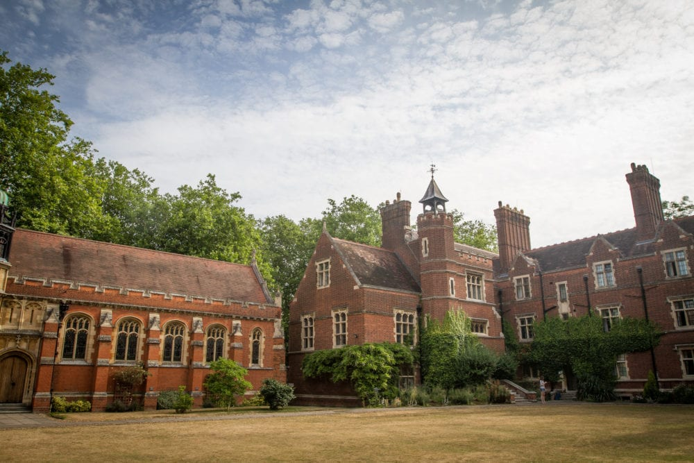Red brick buildings of Ridley Hall college, Cambridge, the course centre for Sir Christopher English language summer camp for older teenagers.
