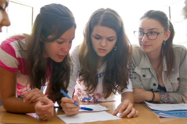 International students in English language lessons at Sir Christopher residential English summer camp
