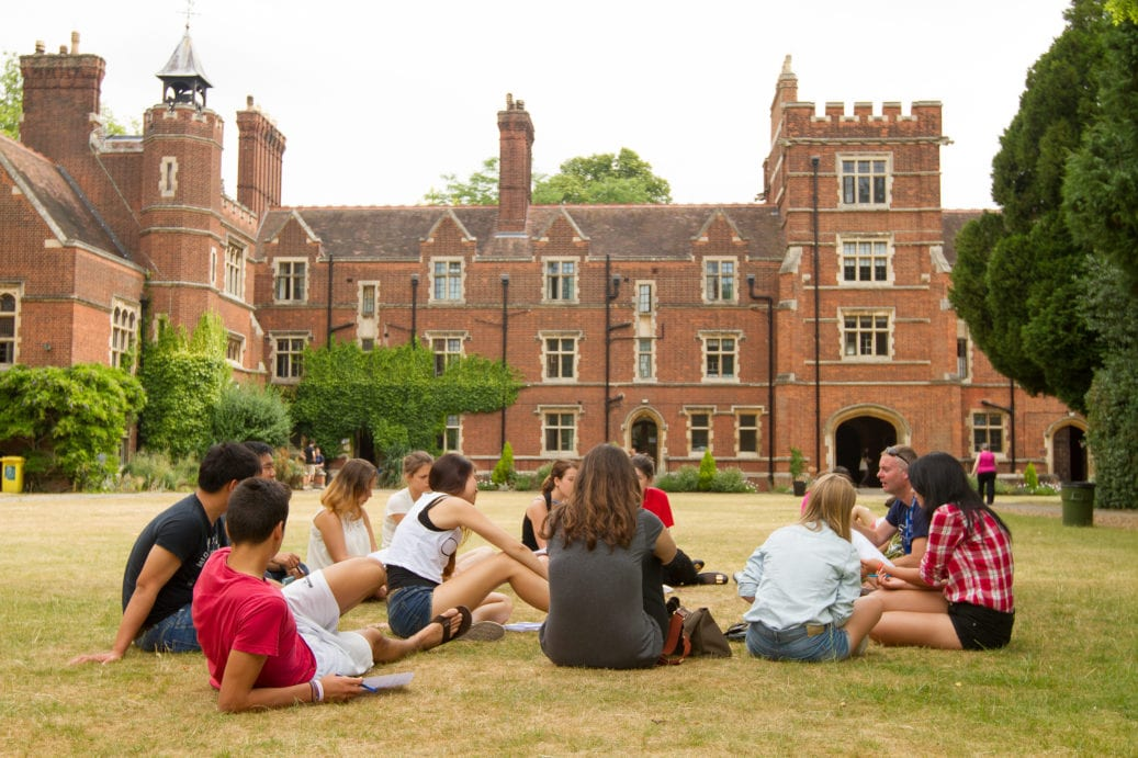 Studio Cambridge teacher takes Sir Christopher students outside for English lessons
