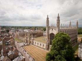 Aerial shot of King's College and King's Chapel in Cambridge, linking to a page on the city of Cambridge.