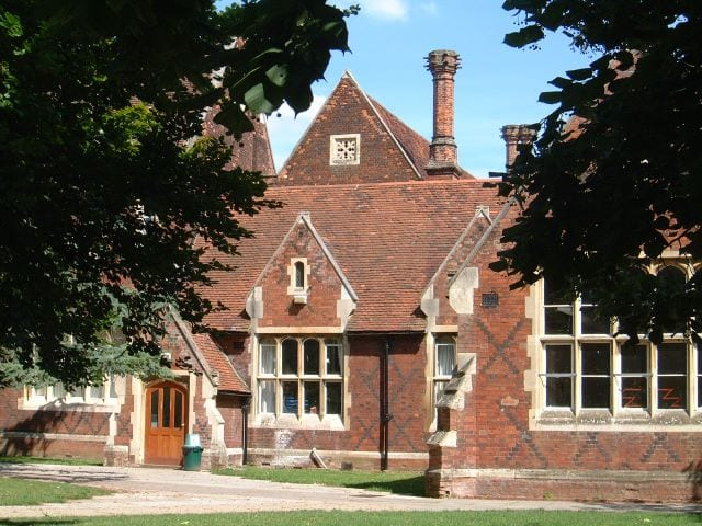 Redbrick building on Hockerill College campus, where Sir Henry residential English summer camp is based