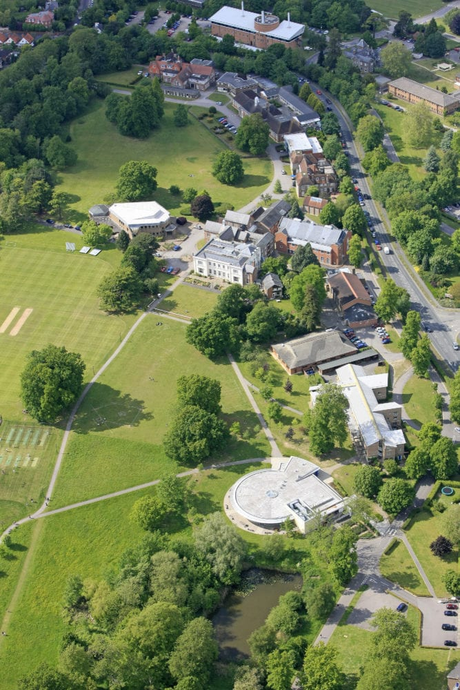 Aerial shot of Leighton Park School campus
