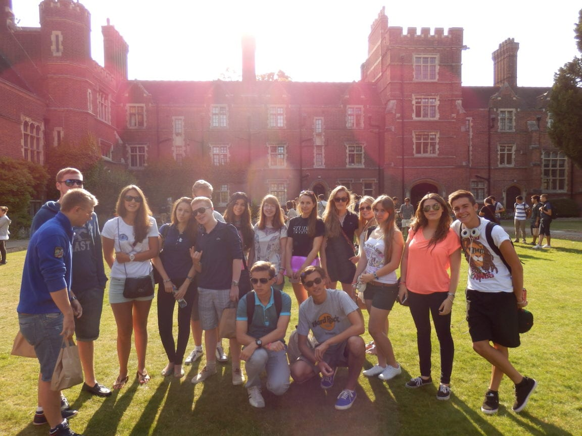 A group of students posing for a photograph on the lawns of Ridley Hall College, Cambridge. at Sir Christopher summer camp