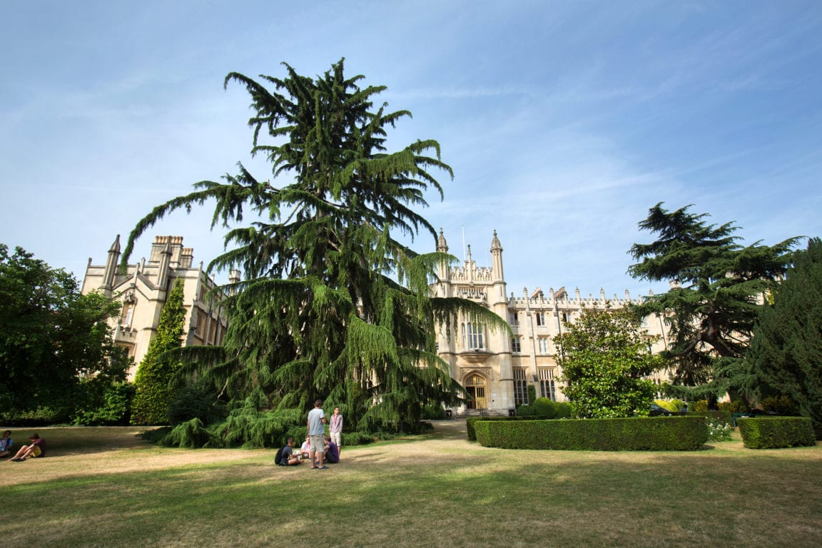 Students at Sir William English summer camp sit on the extensive lawns at the front of Richmond the American International University in London