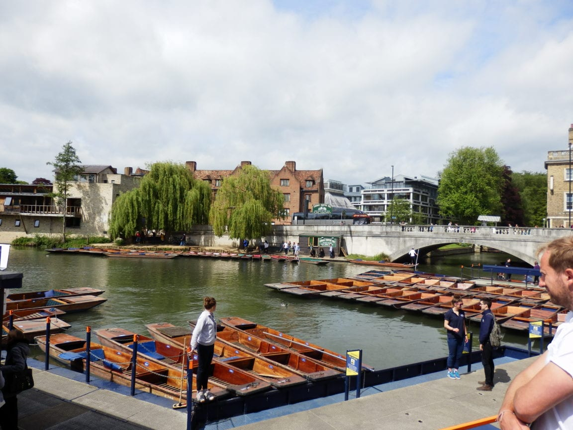 Scudamore's punts on River Cam by Silver Street Bridge